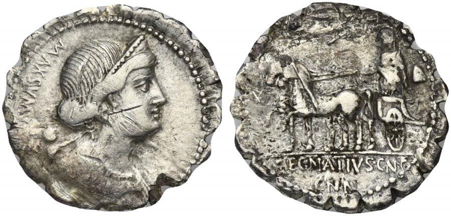 Ancient Coins - ROME REPUBLIC Cn. Egnatius Cn.f. Cn.n. Maxsumus, AR Denarius, Rome, 76 BC. R/  Liberty in walking quadriga