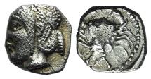 Ancient Coins - Gaul, Massalia, c. 470/65-450 BC. AR Obol R/ Crab