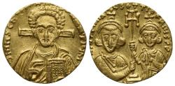 Ancient Coins - Justinian II with Tiberius (Second reign, 705-711). GOLD Solidus. Constantinople, 705-711.