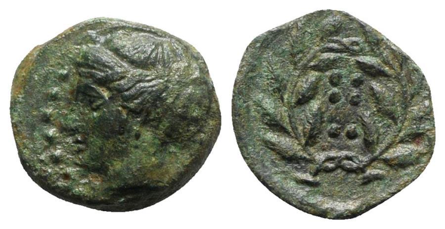 Ancient Coins - Sicily, Himera, c. 420-407 BC. Æ Hemilitron.  R/ Six pellets within wreath