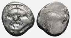 Ancient Coins - Etruria, Populonia, c. 3rd century BC. AR 20 Asses. Diademed facing head of Metus