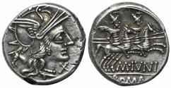 Ancient Coins - ROME REPUBLIC M. Junius Silanus, Rome, 145 BC. AR Denarius  R/ Dioscuri EXTREMELY FINE