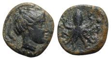 Ancient Coins - Sicily, Syracuse, c. 435-415 BC. Æ Tetras. Head of Arethusa  R/ Octopus
