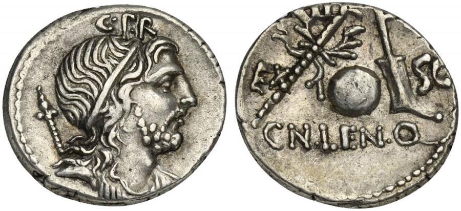 Ancient Coins - ROME REPUBLIC Cn. Lentulus, AR Denarius, Spanish (?) mint, 76-75 BC R/ Sceptre with wreath, terrestrial globe and rudder