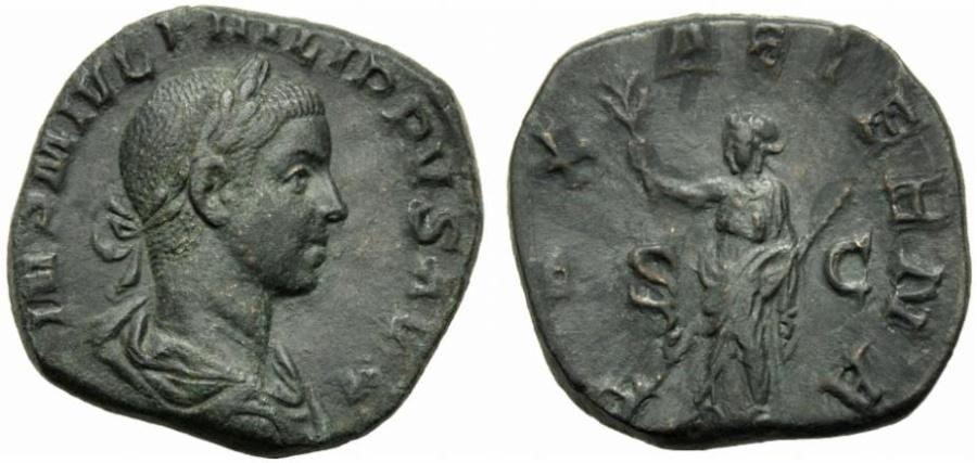 Ancient Coins - Philip II (247-249), Sestertius, Rome, AD 247-249