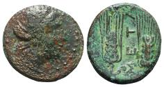 Ancient Coins - ITALY. Southern Lucania, Metapontion, c. 225-200(?) BC. Æ 16mm. Wreathed head of Demeter R/ Two grain ears; META