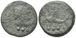 Ancient Coins - ITALY. Southern Apulia, Brundisium, 2nd century BC. Æ Quadrans. Wreathed head of Neptune. R/ Phalanthos on dolphin
