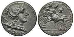 Ancient Coins - A. Albinus Sp.f., Rome, 96 BC. AR Denarius