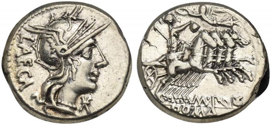 Ancient Coins - ROME REPUBLIC M. Porcius Laeca, AR Denarius, Rome, 125 BC. R/ Libertas driving quadriga