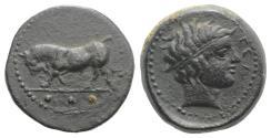 Ancient Coins - Sicily, Gela, c. 420-405 BC. Æ Tetras or Trionkion