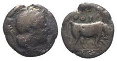 Ancient Coins - ITALY. Southern Lucania, Thourioi, c. 443-400 BC. AR Triobol. Helmeted head of Athena. R/ Bull
