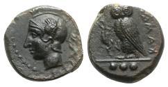 Ancient Coins - Sicily, Kamarina, c. 420-410 BC. Æ Tetras. R/ OWL
