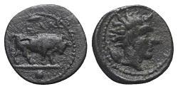 Ancient Coins - Sicily, Gela, c. 420-405 BC. Æ Onkia