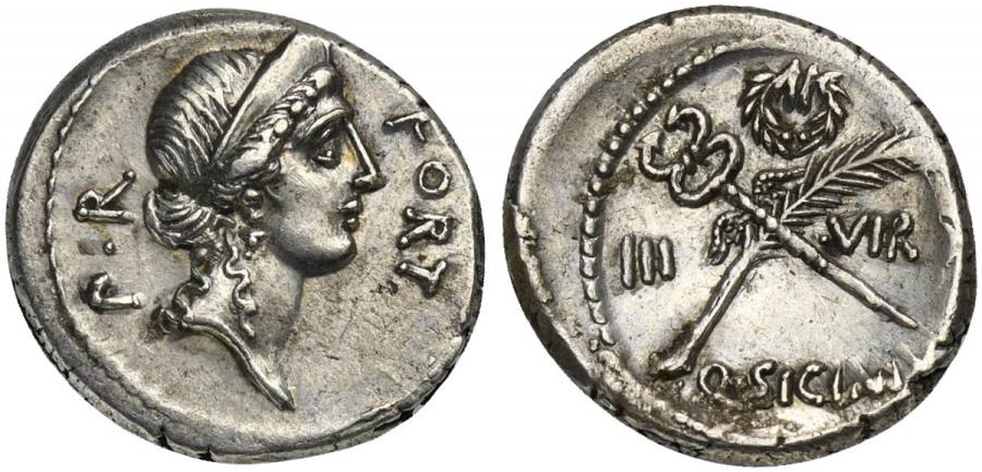 Ancient Coins - ROME REPUBLIC Q. Sicinius, AR Denarius, Rome, early 49 BC. R/ Palm frond with fillet and winged caduceus in saltire