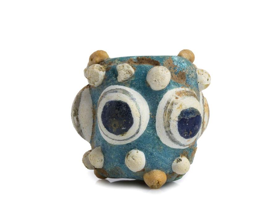 Ancient Coins - Carthaginian polychrome glass Stratified Eye Bead, 4th - 3rd century BC; height cm 2,7