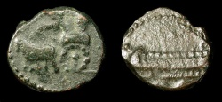 Ancient Coins - Phoenicia, Sidon. AE 15. 4th Century BC. Great King in Chariot / War Galley