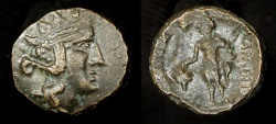 Ancient Coins - Thrace, Maroneia. 180-150 BC. AE 18. Dionysos / Dionysos holding grapes
