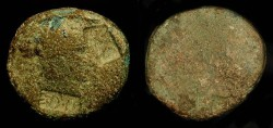 """Ancient Coins - Augustus  27 BC - 14 AD.  AE As, Uncertain Moneyer. Approved for further circulation by Tiberius with """"TI CAE"""" counterstamps"""