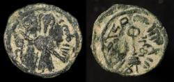Ancient Coins - Arab Byzantine. al Ruha. Standing Caliph. ca  692-697, AE fals. Album 3538