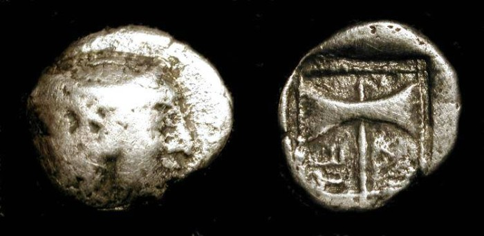 Ancient Coins - zz Troas, Tenedos. 550-470 BC. AR Diobol