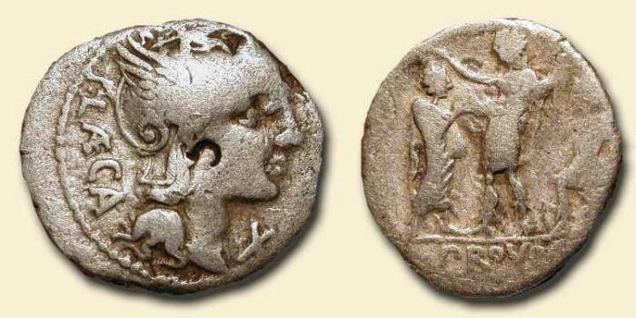 Ancient Coins - Republican Denarius. 110 BC . Citizen confronts Magistrate