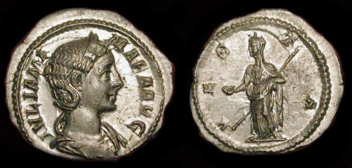 Ancient Coins - Julia Mamaea 222-235 AD. AR Denarius. RIC 362.  Beautiful, High Relief, Lusterous ! Near Mint