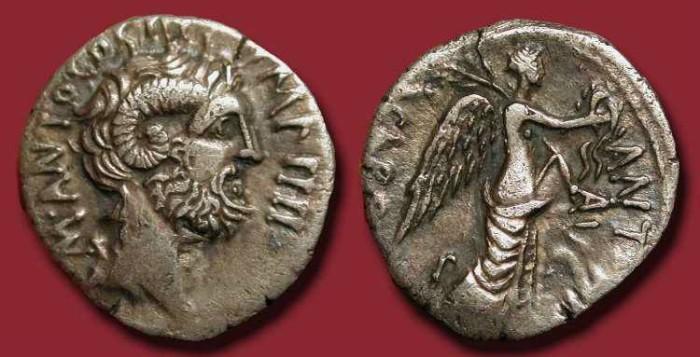 Ancient Coins - w Mark Antony. 31 BC. AR Denarius. Jupiter Ammon / Nude Victory
