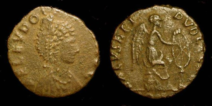 Ancient Coins - Eudoxia, wife of Arcadius, d. 404 AD. AE 15 mm. Scarce.