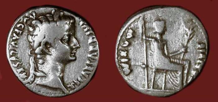 """Ancient Coins - Tiberius .  14 - 37 AD . AR Denarius .  """"Tribute Penny"""""""