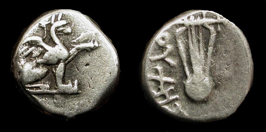 Ancient Coins - Ionia, Teos, 320-294 BC. AR Diobol. Gryphon / Lyre. Dioches, magistrate. SNG Kayhan 612v