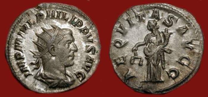 Ancient Coins - Philip I 244-249 AD. AR Antoninianus. Aequitas