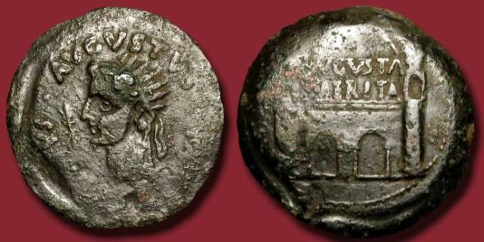 Ancient Coins - Divus Augustus. Huge AE Dupondius (35 mm). Emerita City Gate.