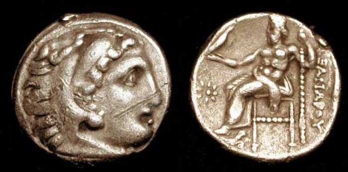 Ancient Coins - Alexander III the Great  336-323 BC.  Silver Drachme
