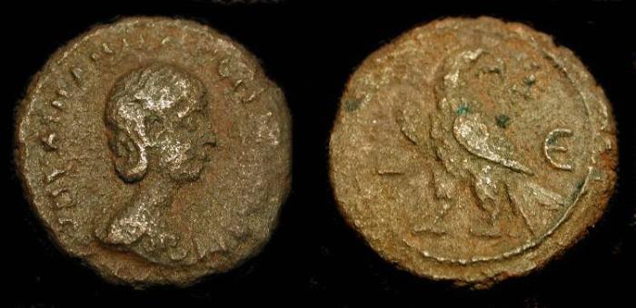 Ancient Coins - Aquilia Severa, Vestal Virgin wife of Elagabalus (218-222 AD).Tetradrachme of Roman Egypt