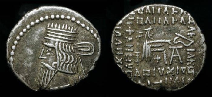 Ancient Coins - Parthian Kingdom, Vologases III 105-147 AD. AR Drachm. Sellwood 78.3