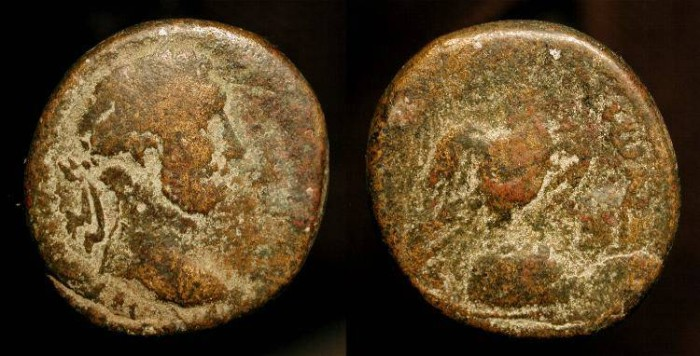 Ancient Coins - Antoninus Pius 138-160 AD. AE 24. Sacred Stone of Emesa