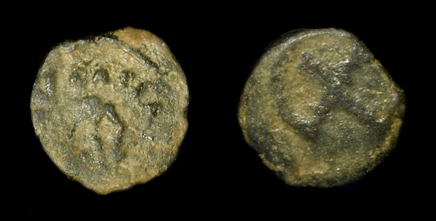 Ancient Coins -  Herod the Great 40 - 4 BC. AE Prutah. H 1185. Very Rare