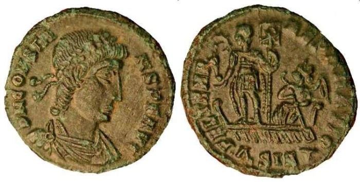 Ancient Coins - Constans  . 337-350 AD.  AE 3  .  Emperor standing on Galley Ship .