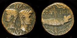 Ancient Coins - Augustus, with Agrippa. 27 BC-AD 14. AE Dupondius. Gaul, Nemausus.