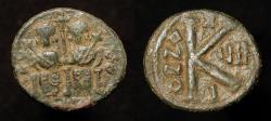 Ancient Coins - Arab Byzantine Bronze Half Fals. Main Bilingual Series : BAISAN (Scythopolis). Foss # 84