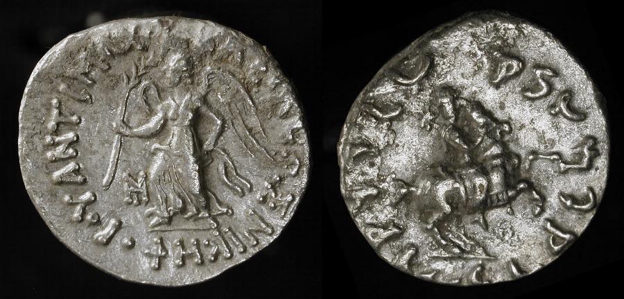 Ancient Coins - Baktria. Antimachos 171-160 BC. Silver Drachm. Scarce Type.