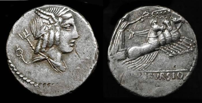 Ancient Coins - Roman Republic.  L. Julius Bursio,  85 BC. AR Denarius.