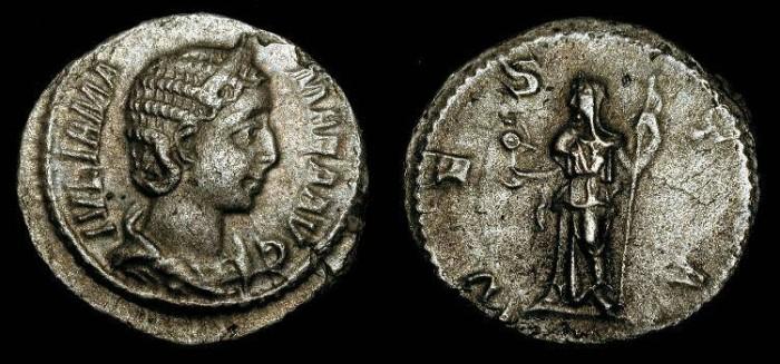 Ancient Coins - Julia Mamaea 222-235 AD.  AR Denarius / Vesta.  Nice Example.