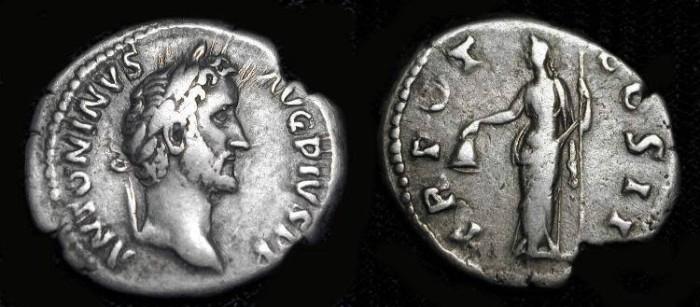 Ancient Coins - Antoninus Pius, 138-161 AD. Silver Denarius. Libertas.