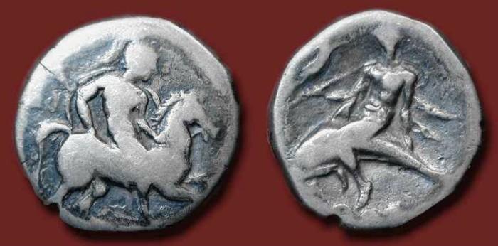 Ancient Coins - Calabria, Tarentum. Circa 272-235 BC. AR Nomos