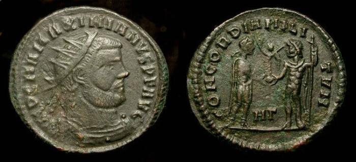 Ancient Coins - Maximianus 286-305 AD.  AE Radiate Fraction. Heraclea Mint