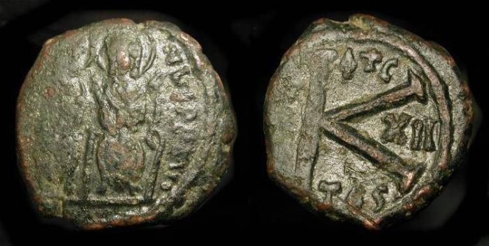 Ancient Coins - Byzantine Empire, Justin II  565-578 AD. AE Half Follis.  Thessalonika Mint