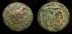Ancient Coins -  Greece. Akarnania, Oiniadai. 219-211 BC. AE 21. Zeus / Man Headed Bull