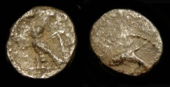 Ancient Coins - > Phoenicia, Tyre. 357-337 BC. 1/24 Shekel. Owl / Dolphin