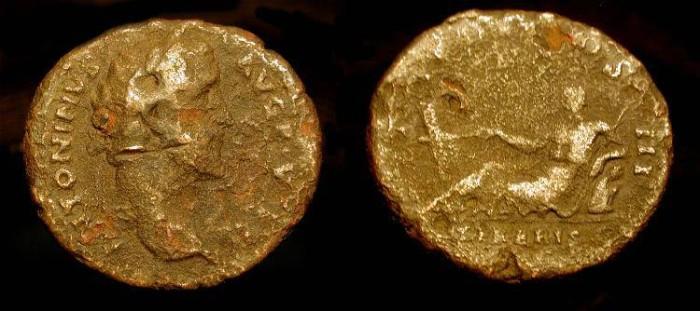 Ancient Coins - Antoninus Pius  138-161 AD. AE As. TIBERIS. RIC 706 Scarce